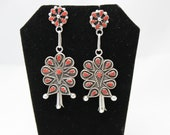 Zuni Sterling Silver and Coral  Earrings