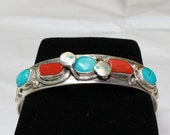 Turquoise and Coral on Sterling Silver Bracelet