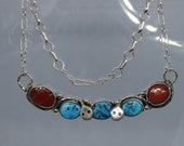 Kingman Turquoise and Coral Sterling Silver Necklace