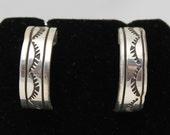 Sterling Silver Stamped Half Hoop Earrings