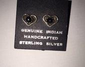 Sterling Silver Stud Heart Shaped Earrings with Black Onyx