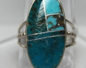 Turquoise and Sterling Silver Navajo Ring Size 8 1/2