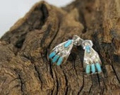 Zuni Handmade Sterling Silver Needlepoint Turquoise Coral Earrings Stunning