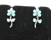Turquoise and Sterling Silver Flower Post Earrings
