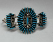 Zuni Turquoise and Sterling Silver Needlepoint Bracelet