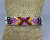 """Beaded Cuff Bracelet is lined with suede and can be manipulated with care. Measures 6"""" inside diameter with a 1 1/2"""" gap and is 1/2"""" wide."""