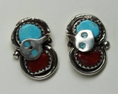 Zuni Turquoise, Coral and Sterling Silver Snake Earrings