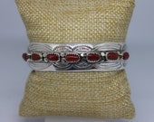 Coral and Sterling Silver Cuff Bracelet