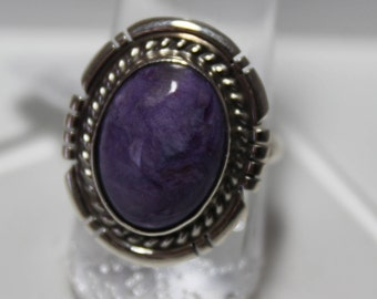 Charoite and Sterling Silver Ring