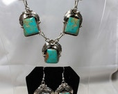 Navajo Kingman Turquoise and Sterling Silver Necklace and Earring Set