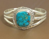 Turquoise Kingman Sterling Silver Native American Cuff Braclet
