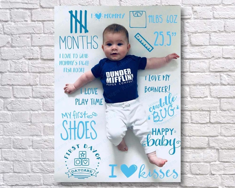 5 Months Five Months Baby Monthly Collage Customizable Collage Monthly Birthday Board Month Monthly Baby Blue Navy