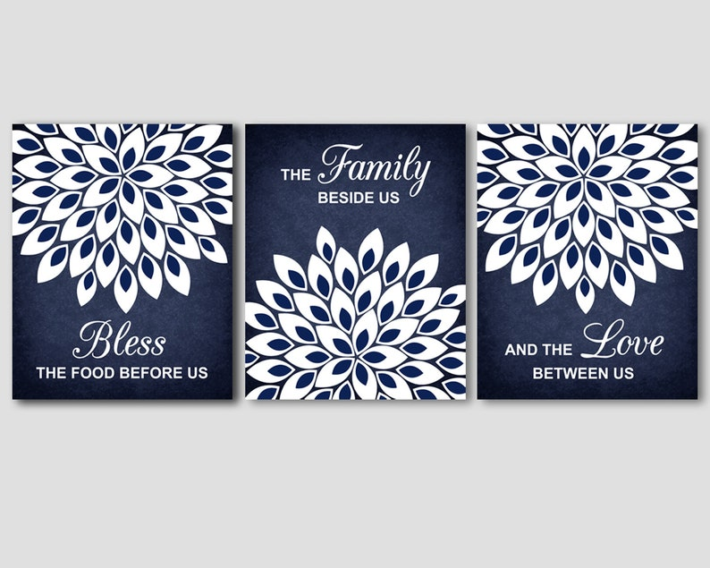 navy blue and white kitchen wall art decor bless the food | etsy