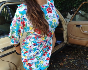 White and Multi colored floral silk dress