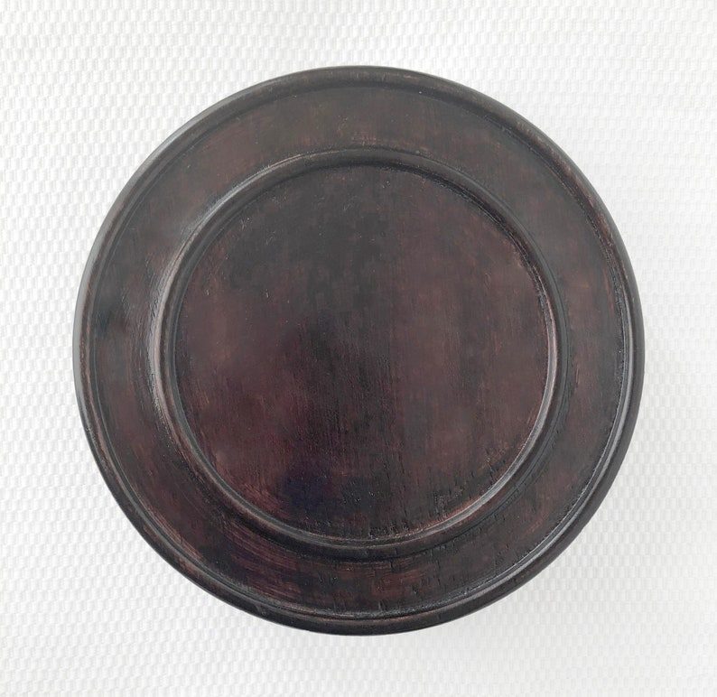 """4.5/""""  Brown Chinese Oriental Solid Wooden Lid Cap Cover for Ginger Jar and Vases"""