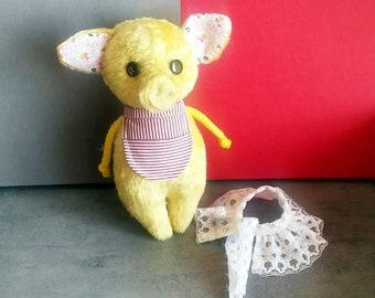 Piglet rag toy small yellow plush piggy handmade nursery decor, art toy gift