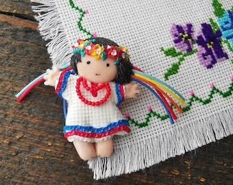 Ukrainian Girl doll brooch, small art handmade pin, Ukrainian souvenir, Girl in national Ukrainian costume
