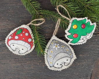 Christmas fabric ornaments hand painted Christmas tree bauble 3 funny cotton toys Home decor