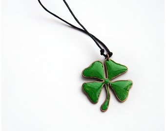 Four leaf clover lucky charm necklace or brooch, green clover St. Patrick day gift