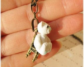 Tiny Polar bear Toy pendant on chain Lovely necklace Christmas Stocking staffer gift idea