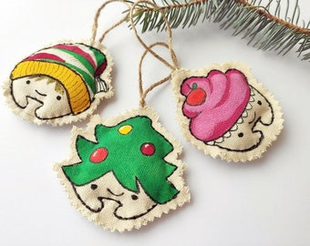 Hand painted Christmas fabric bauble 3 funny Christmas ornaments, Fun one Art Christmas toys