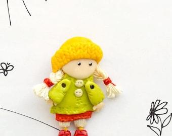 Miniature Doll Brooch Fanny doll brooch little girl pocket doll cute art jewelry OOAK