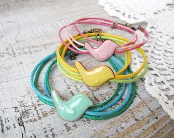 Wrap Bird bracelet for girl, kids jewelry, cute accessory for her, lovely birds jewelry