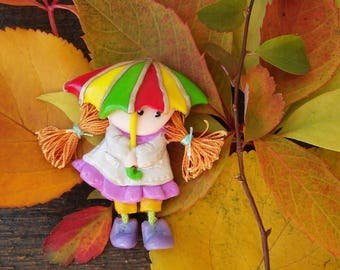 Doll Brooch Girl with umbrella, Cute Accessory, Lovely Gift for Her, Polymer Clay Art