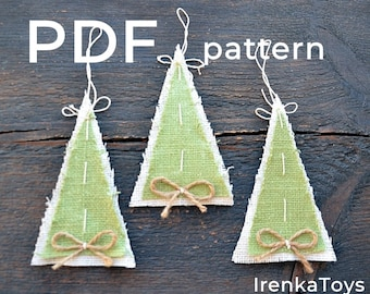 Christmas Trees PDF pattern tutorial how to make rustic burlap Christmas ornaments DOWNLOAD FILE