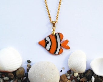 Orange striped Fish necklace, Sea fish, Nemo, Handmade Orange Clownfish pendant, Animal jewelry, Small Fish pendant on chane