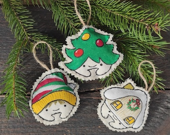 Christmas ornaments fabric hand painted cotton bauble toys 3 funny decors Christmas tree
