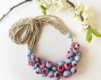 Pink Blue Bib Necklace, Wedding Necklace, Flower handmade jewelry, Boho jewelry, Statement Big Necklace, Graduation, Mother day
