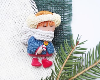 Toy Brooch Small doll Kawaii jewelry Baby Girl Brooch Christmass stocking stuffers Cut gift for her