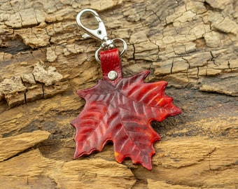 Colorful leather Leaf keychain