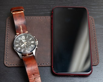 Leather Desk Pad for smartphone, keys, watch or other stuff