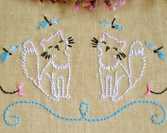 Embroidery pattern cat, PDF pattern, hand embroidery patterns by NaiveNeedle