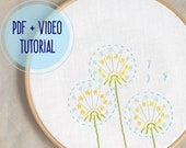 Dandelions • Embroidery pattern • PDF • Video tutorial • Embroidery pattern beginner •  Floral embroidery • NaiveNeedle