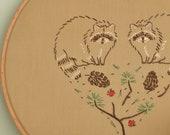 Hand embroidery pattern PDF • Raccoons • NaiveNeedle