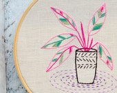 Hand embroidery pattern beginner level • PDF • Calathea house plants • NaiveNeedle