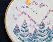 Hoop art emboidery pattern • PDF • Landscape • Mountains • Pine trees • Nature • NaiveNeedle