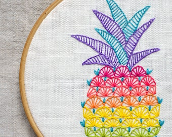 Pineapple Hand embroidery patterns • PDF for hand embroidering • Colorful Pineapple • Hawaii decor • NaiveNeedle