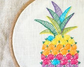 Embroidery pattern • Hand embroidery pattern • PDF • Pineapple embroidery • Tropical embroidery design • NaiveNeedle
