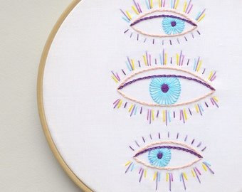 Hand embroidery pattern, Digital Download, evil eye, modern hand embroidery patterns, embroidery pattern PDF by NaiveNeedle