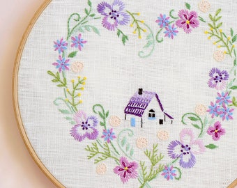 Hand embroidery patterns • PDF • Floral embroidery • Home sweet home • DIY •  French country • NaiveNeedle