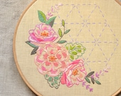 Embroidery pattern PDF Floral • Hand embroidery • embroidered pink peony • Roses and Sashiko • Instant Download • NaiveNeedle