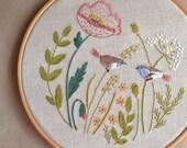 Bird Embroidery pattern • PDF pattern • Wildflowers hand embroidery •  Poppy Meadow embroidery • Embroidery designs • NaiveNeedle