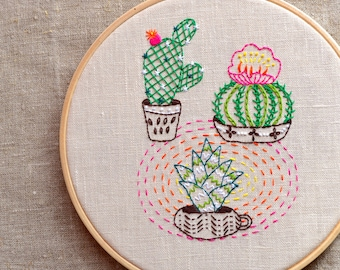 Hand embroidery Patterns • PDF • Embroidered flower • Cactus embroidery design • House Plant • NaiveNeedle