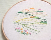 Hand embroidery patterns • PDF • summer landscape embroidery art • green valley • NaiveNeedle