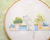Embroidery pattern • Hand embroidery tutorial PDF • Cat embroidery • Windowsill garden • Digital Download • NaiveNeedle
