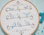 Bird Hand embroidery pattern • PDF • Love Birds • DIY • Shabby chic decor • NaiveNeedle